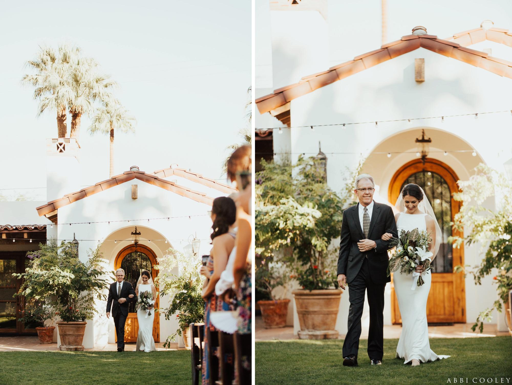 fathers walks bride down aisle Casa de Monte Vista Palm Springs Wedding