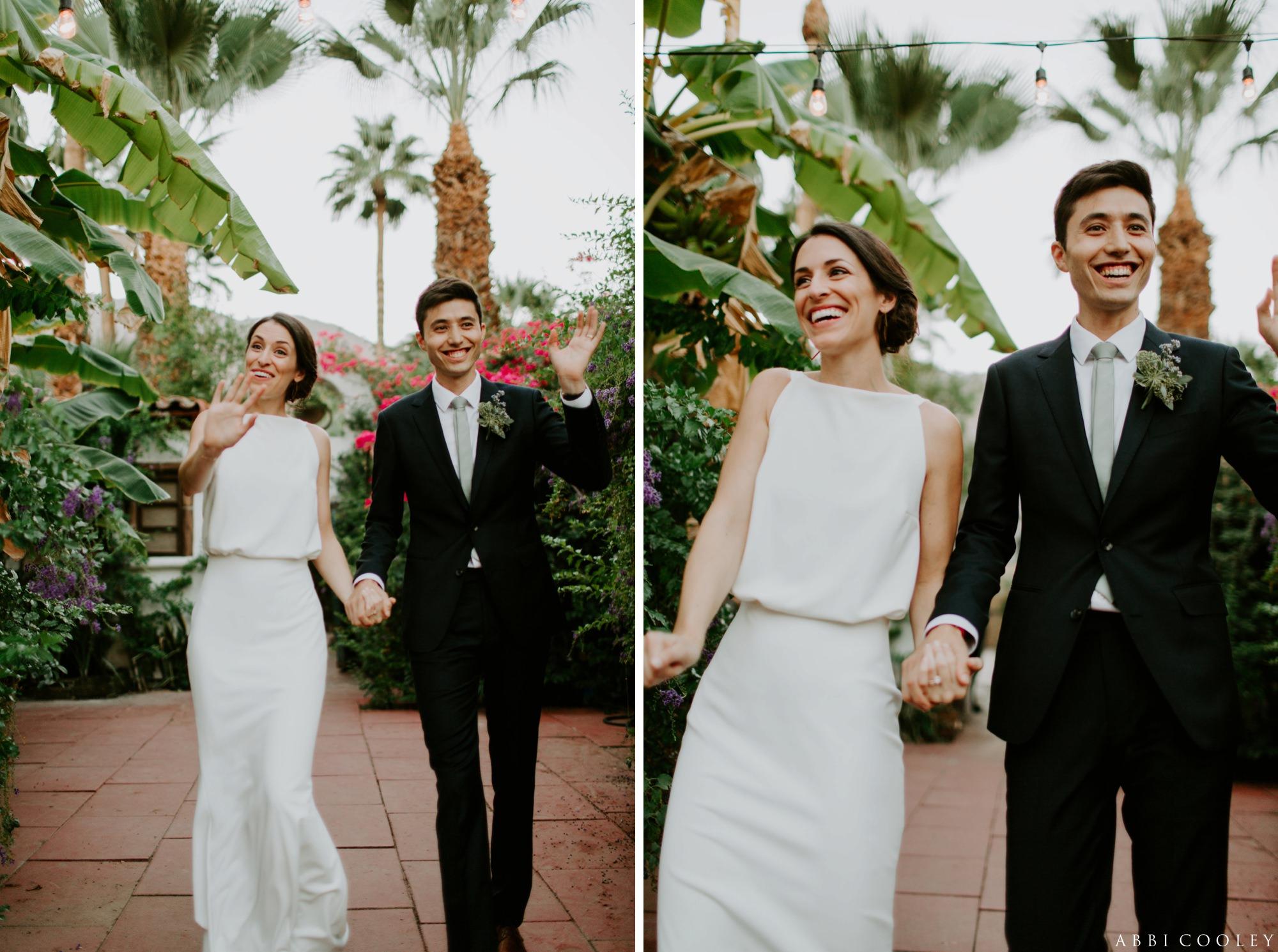 bride and groom entrance Casa de Monte Vista Palm Springs Wedding