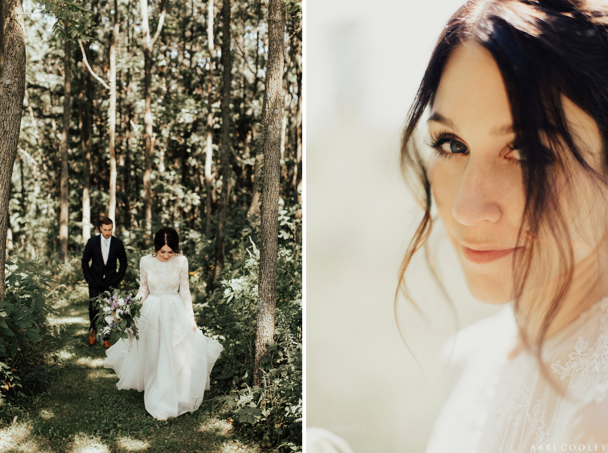 Bride and groom among the trees Oak Hill Farms Wedding