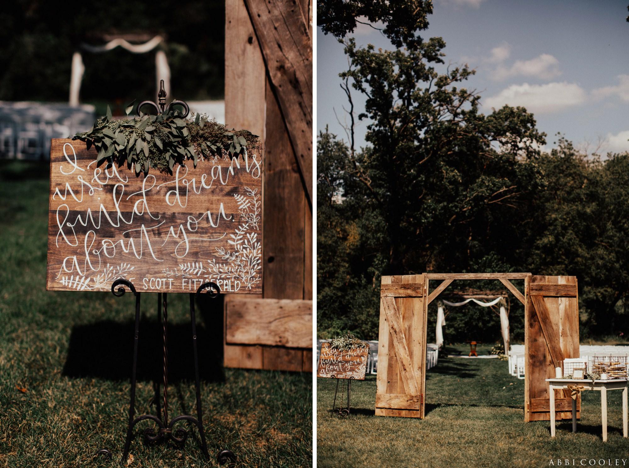 wedding sign decor Oak Hill Farms Wedding