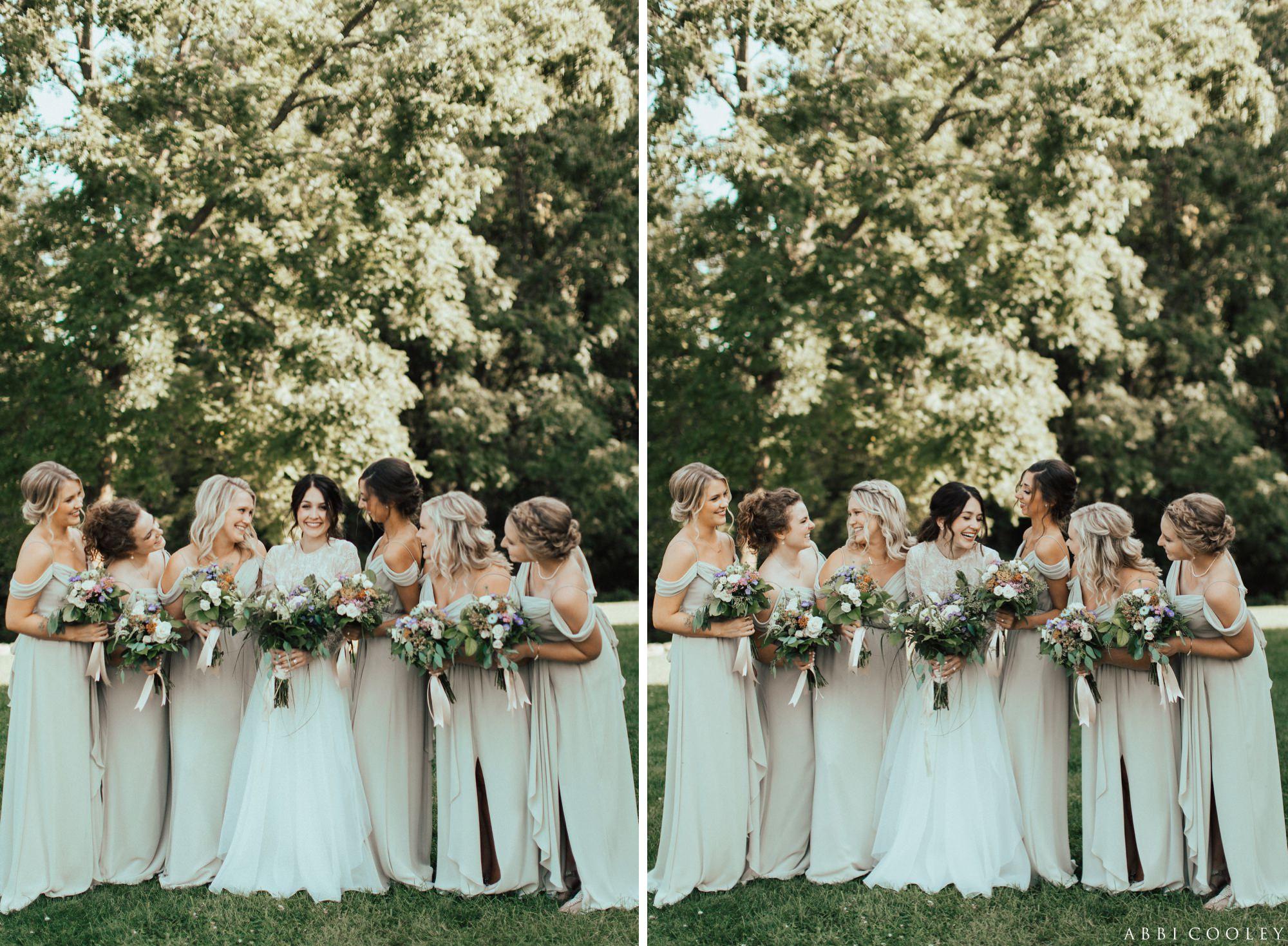 nude bridesmaid dresses Oak Hill Farms Wedding
