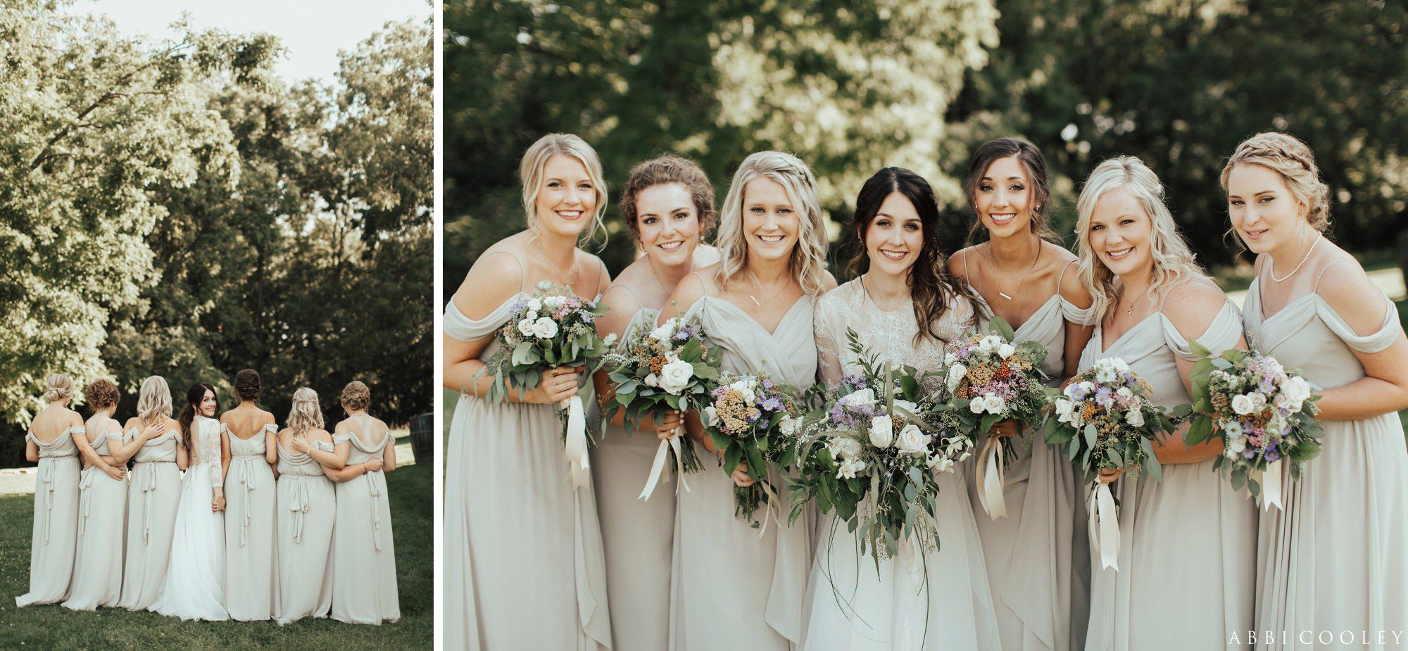 neutral bridesmaid dresses Oak Hill Farms Wedding