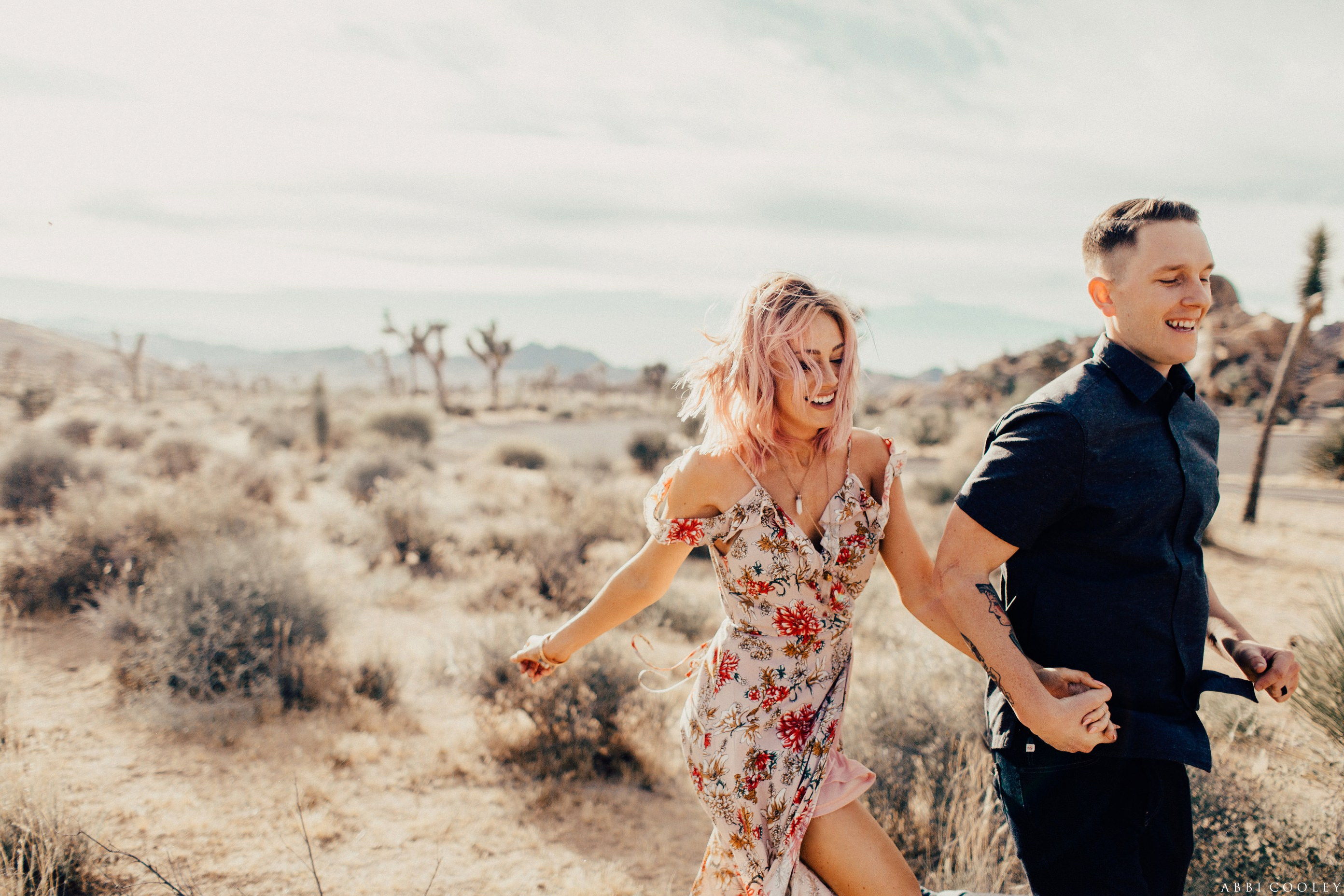 floral dress engagement outfit Joshua Tree Anniversary Session