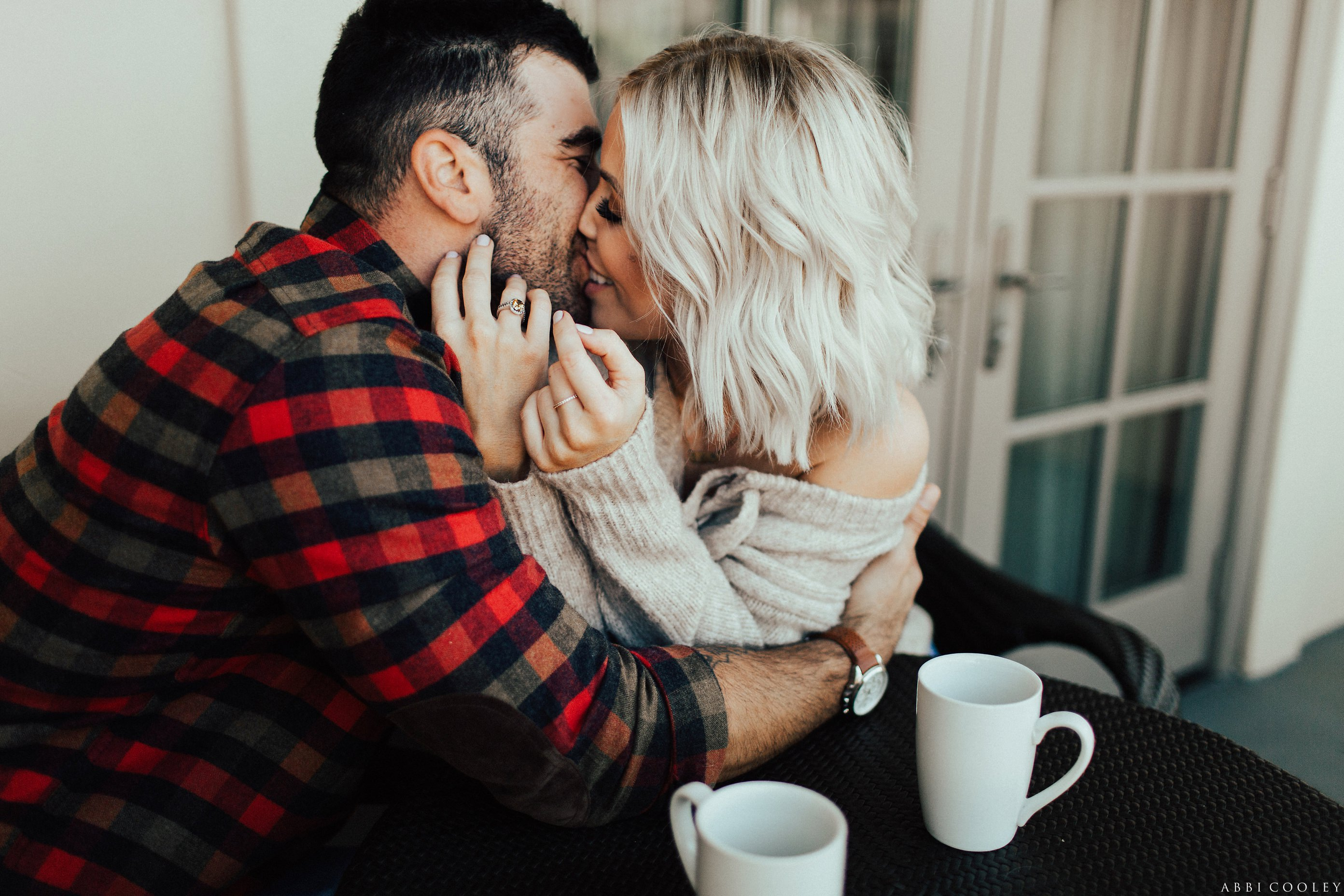 coffee in home engagement pictures Balboa Island Engagement Shoot