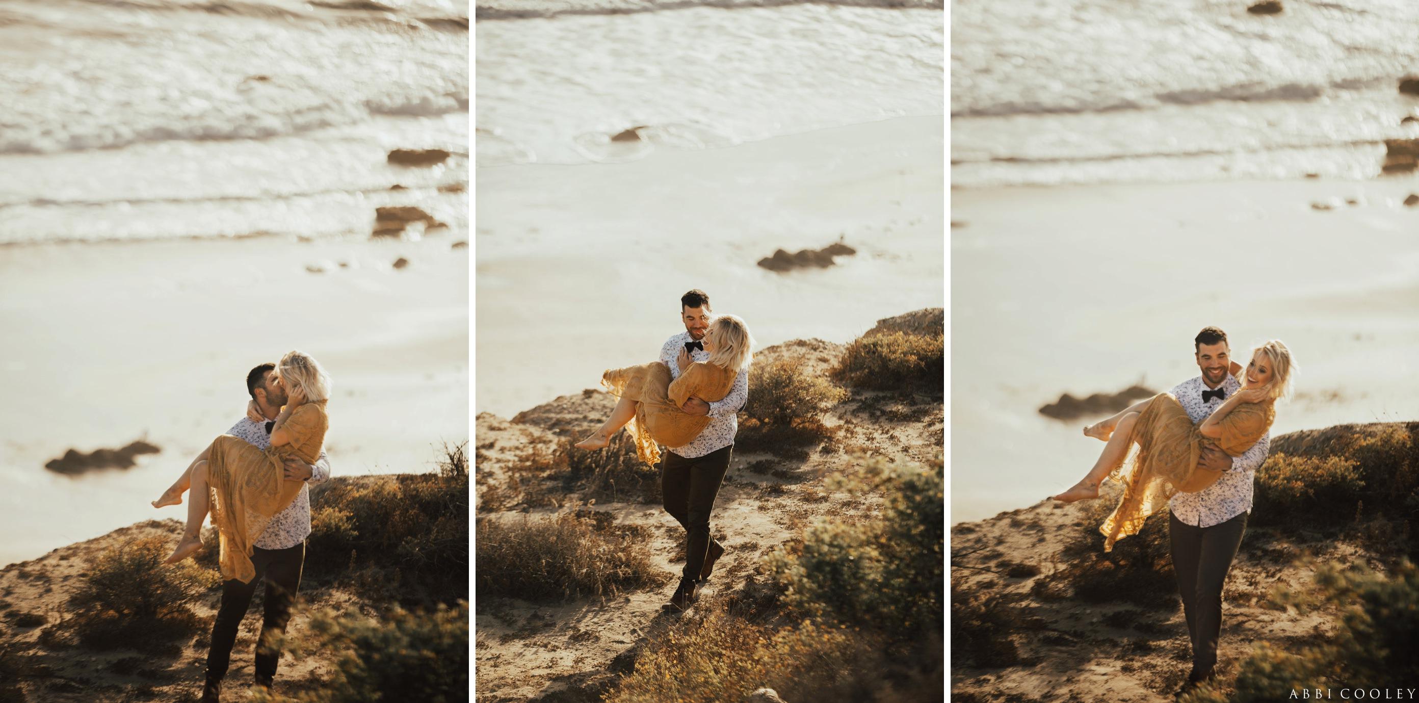 women's maxi dress engagement outfit Balboa Island Engagement Shoot