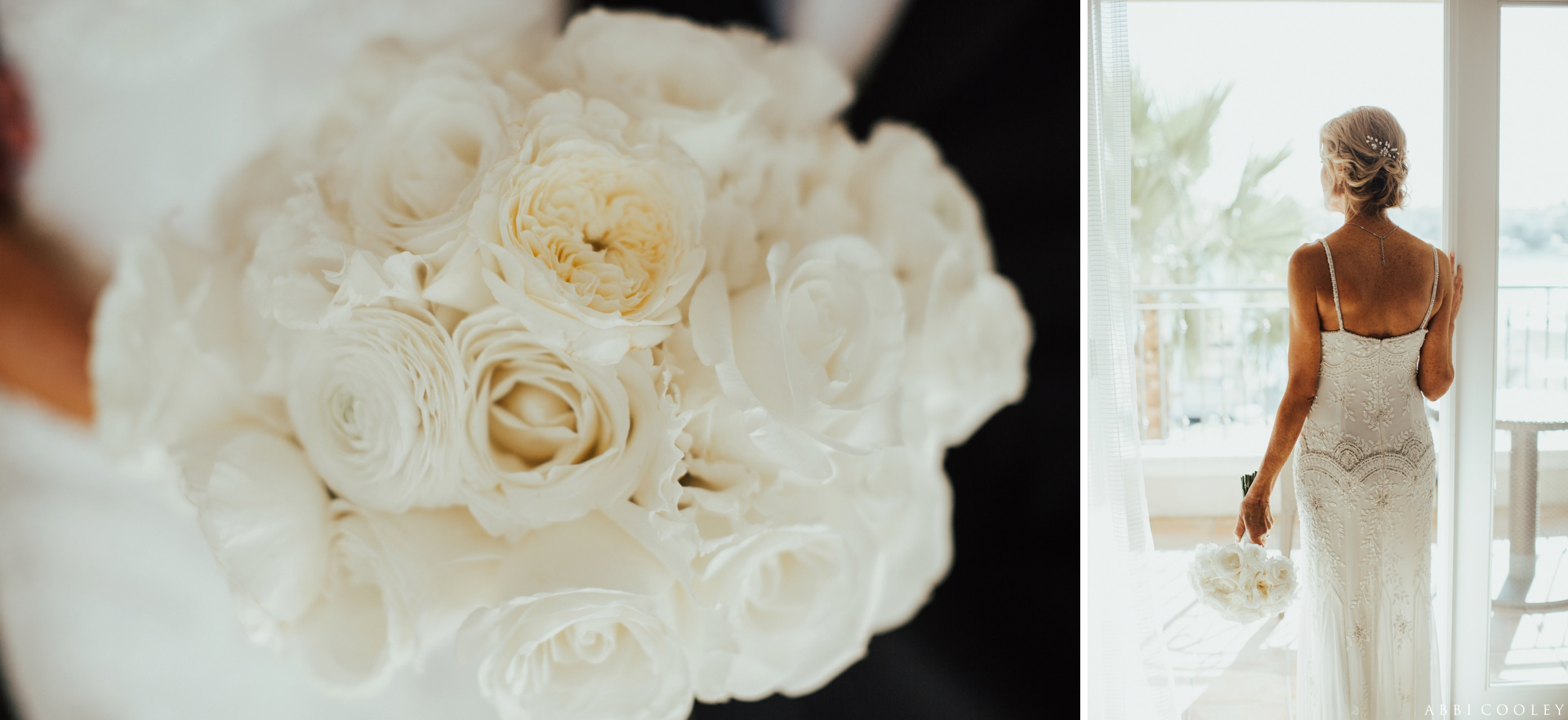 white rose bouquet Balboa Bay Club Wedding