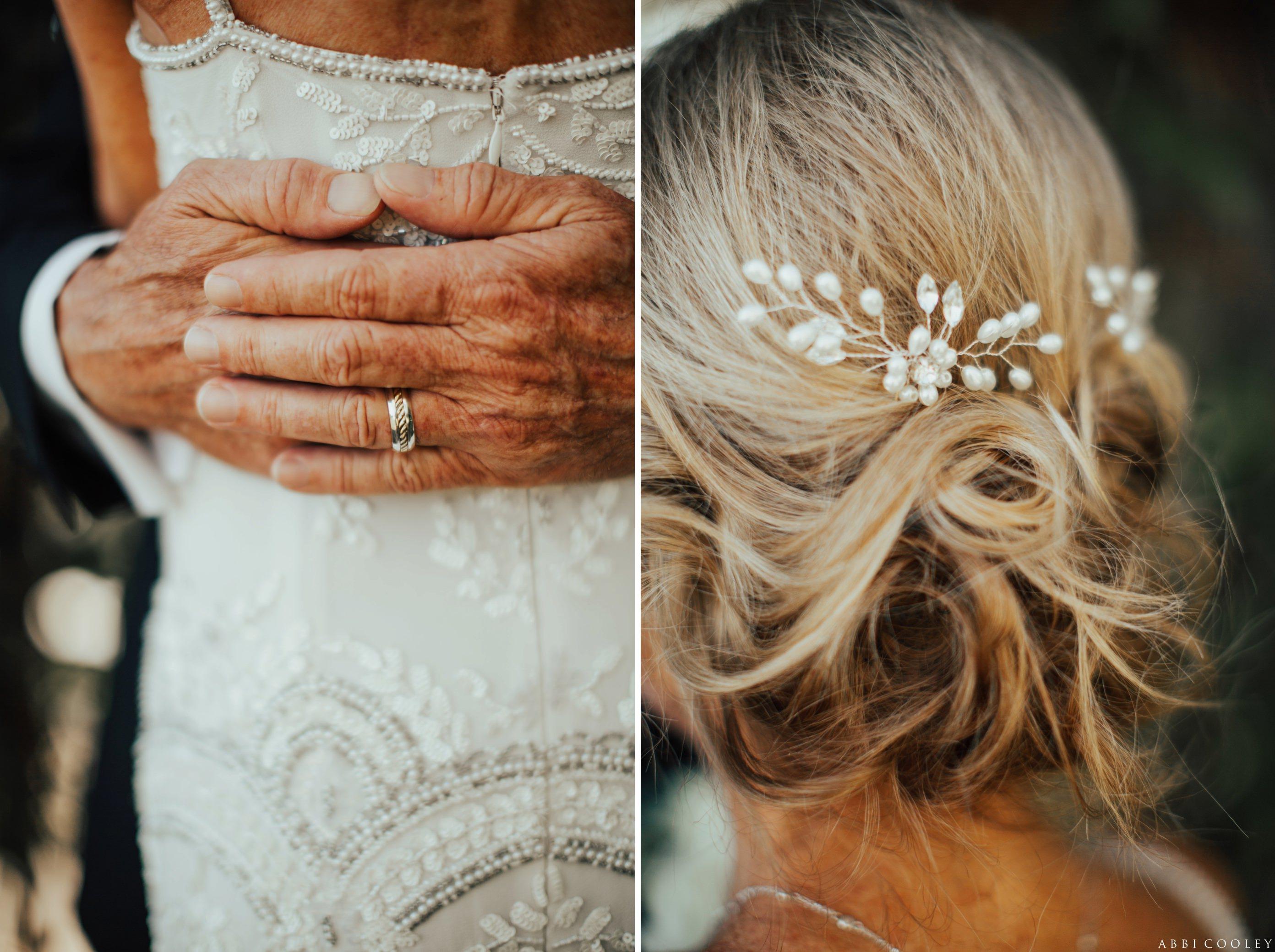 flower bead wedding hair accessories Balboa Bay Club Wedding