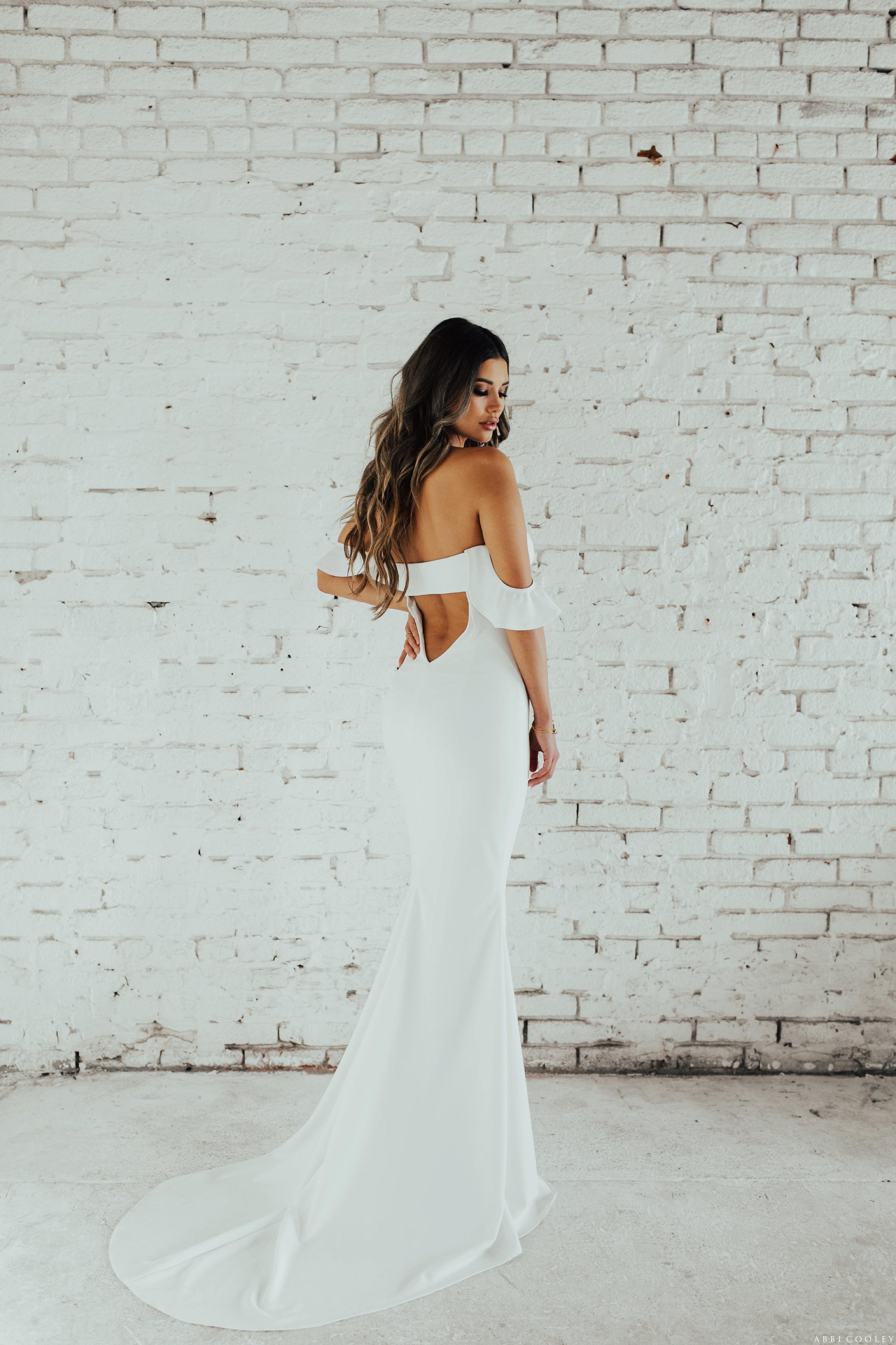 off the shoulder wedding dress Katie May 2017 Lookbook