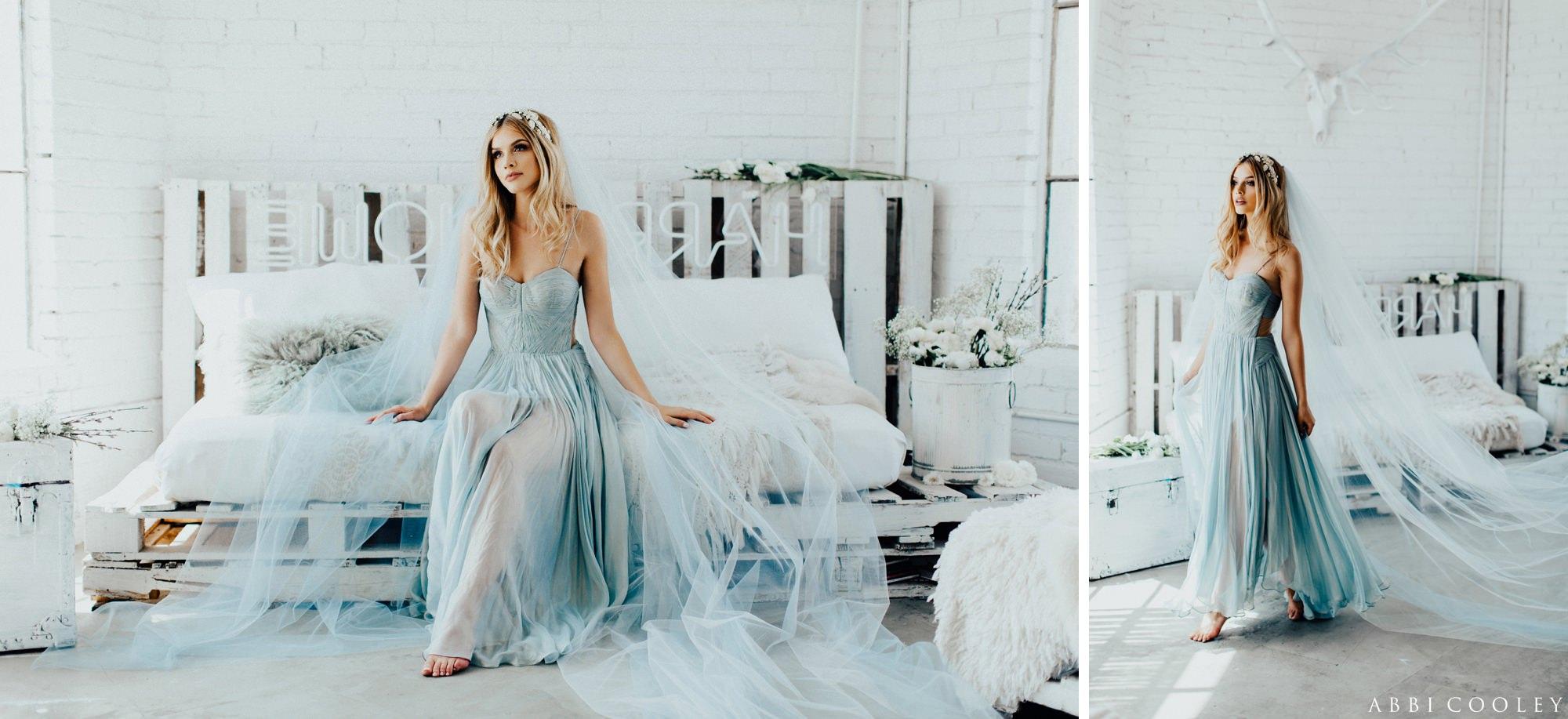 blue wedding gown The Veiled Beauty 2017 Lookbook