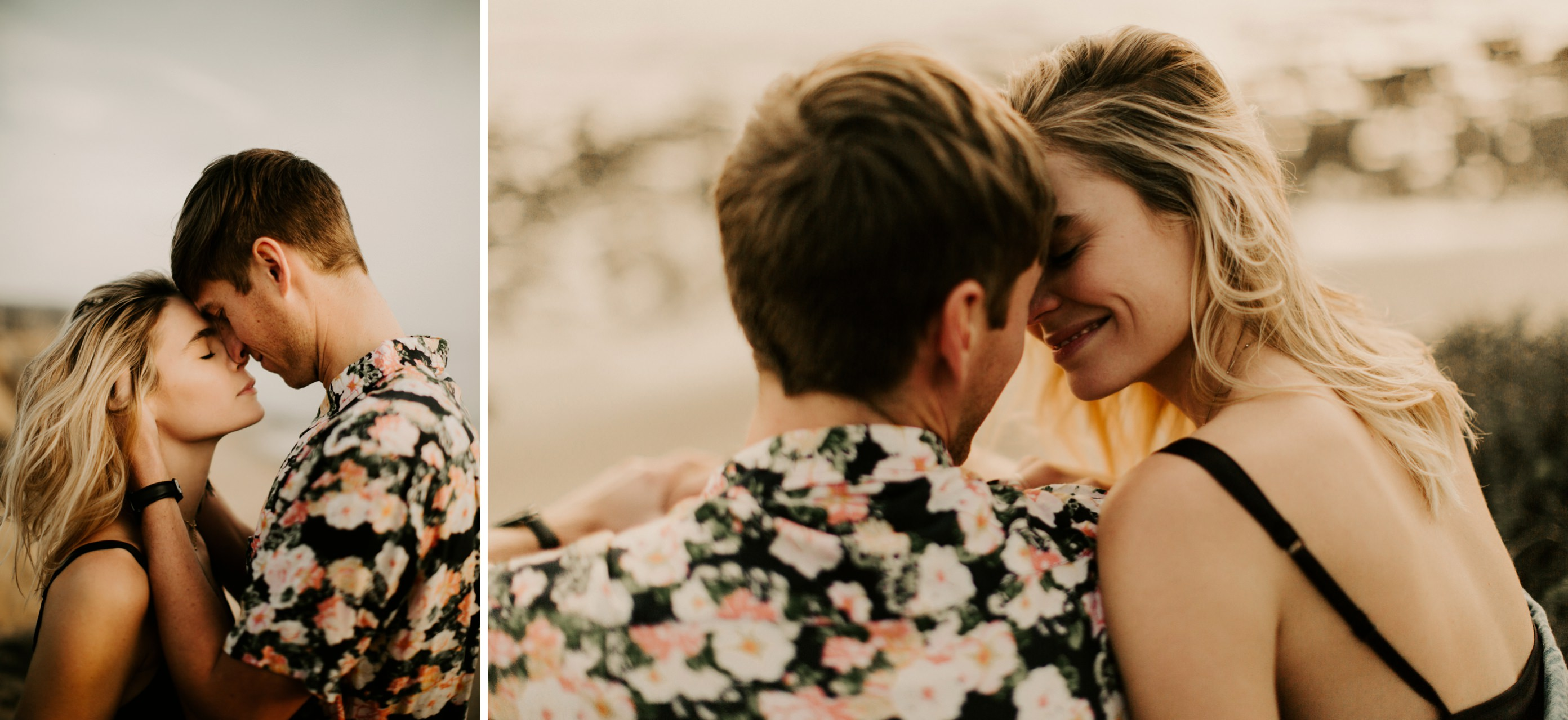 mens floral shirt engagement photos Southern California Engagement Shoot