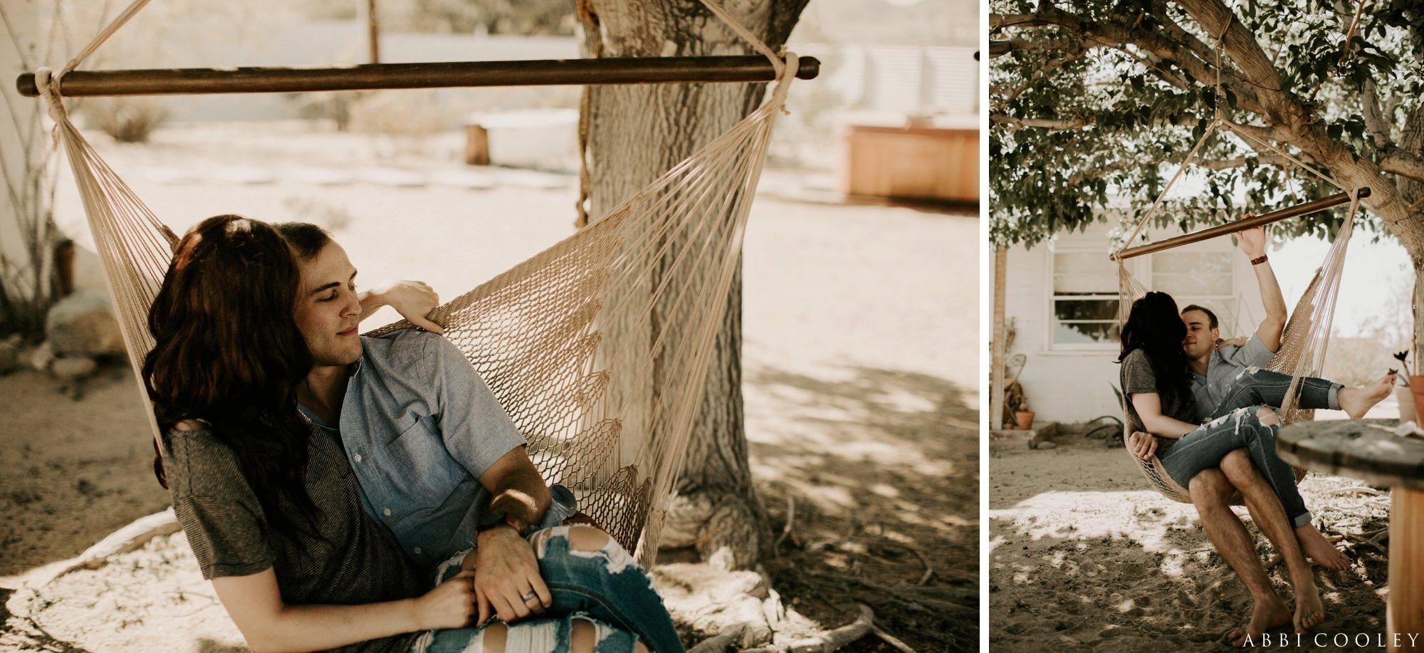 hammock engagement shoot Joshua Tree California Engagement || Abbi Cooley