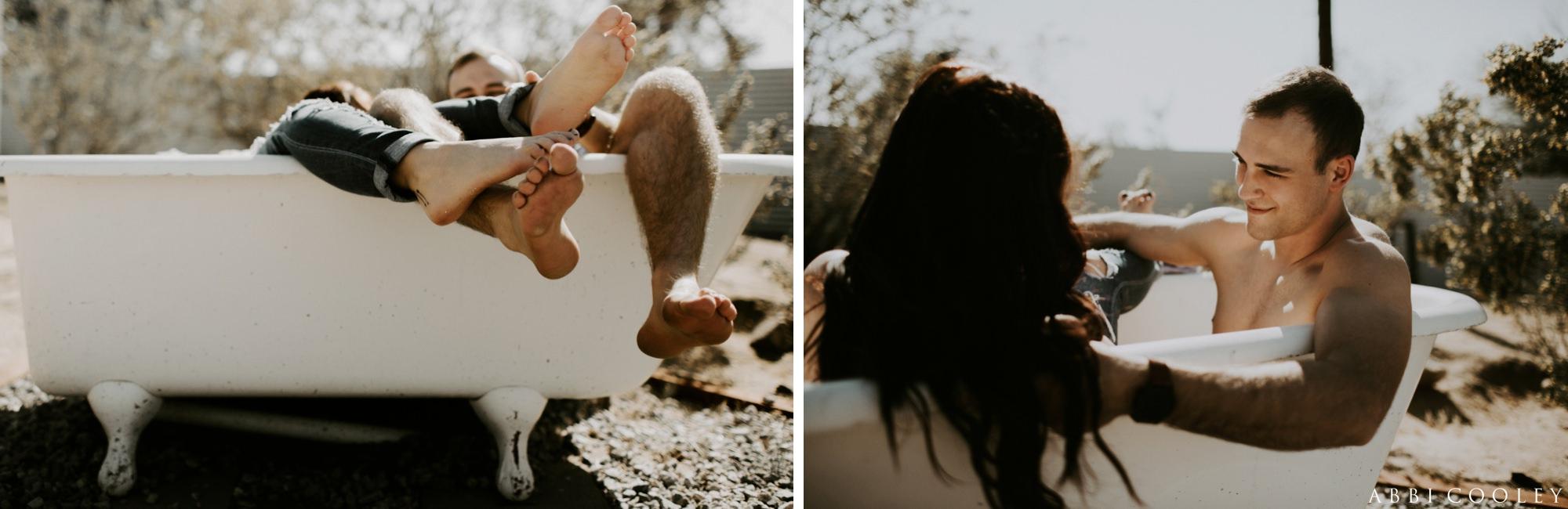 Joshua Tree bathtub photoshoot Joshua Tree California Engagement || Abbi Cooley
