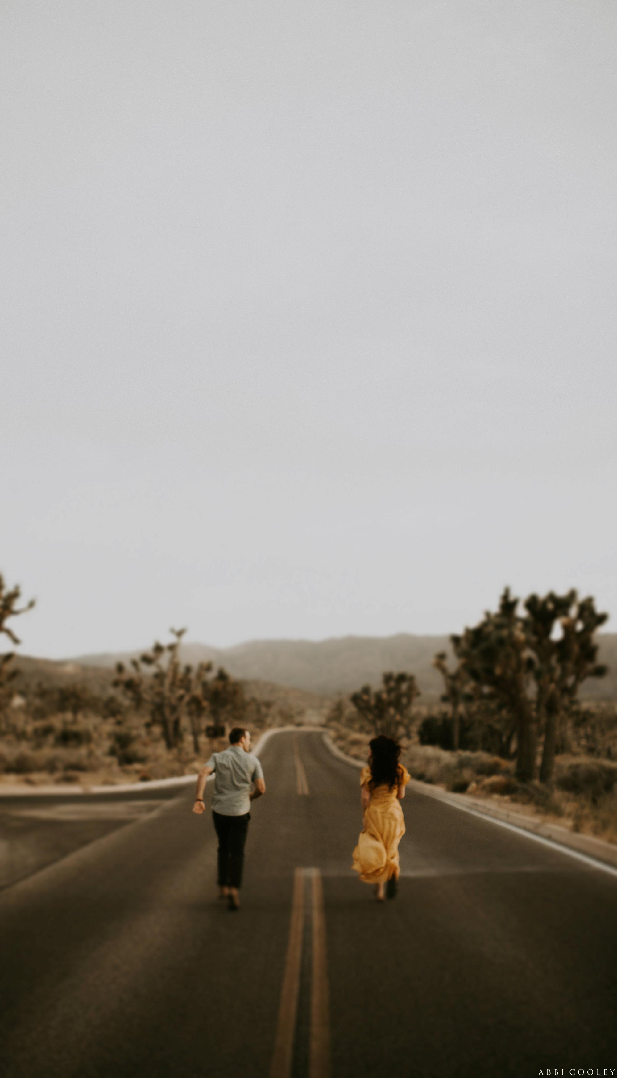 desert highway engagement shoot Joshua Tree California Engagement || Abbi Cooley