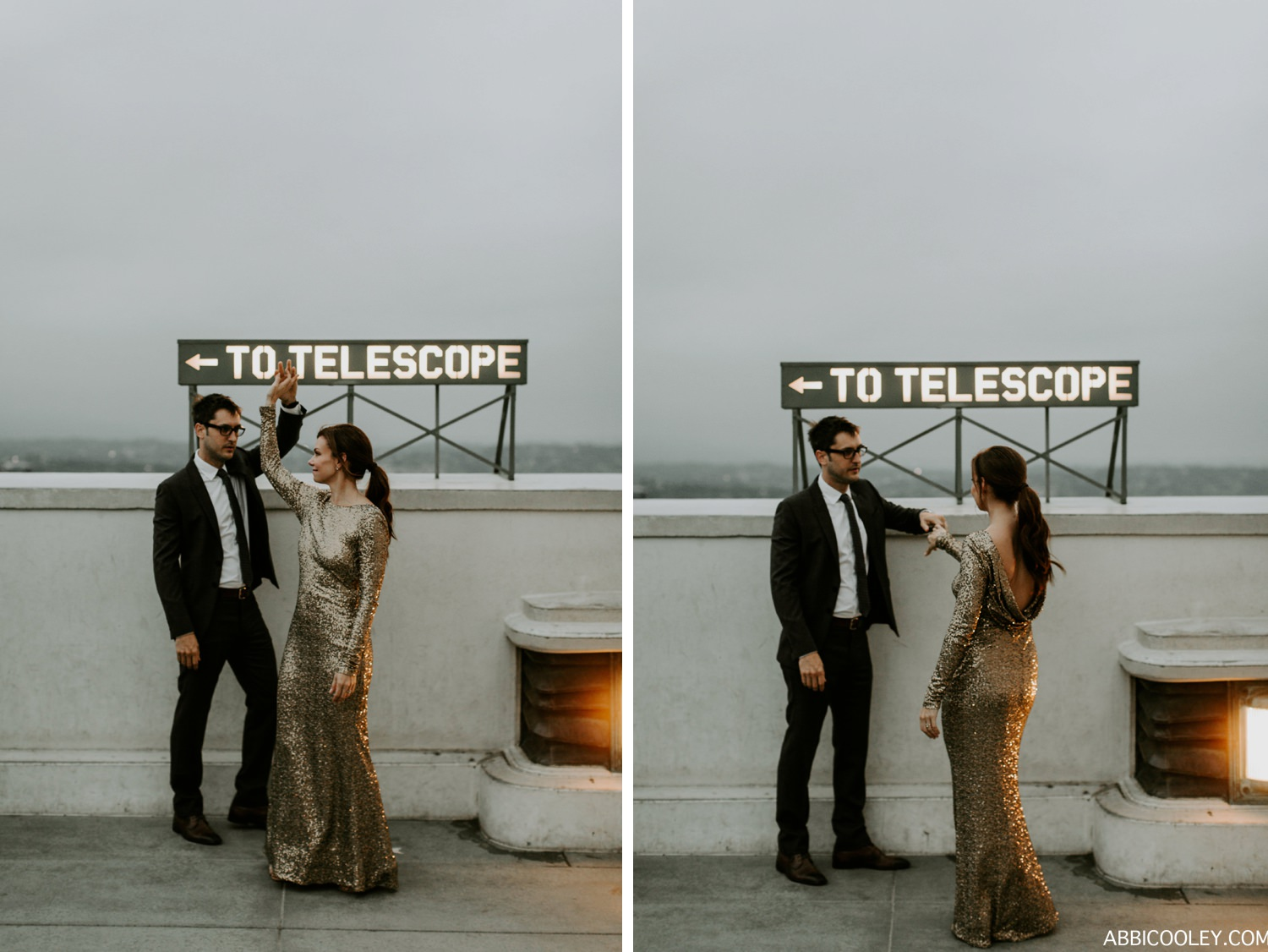 sequin dress Los Angeles Observatory Engagement || Abbi Cooley