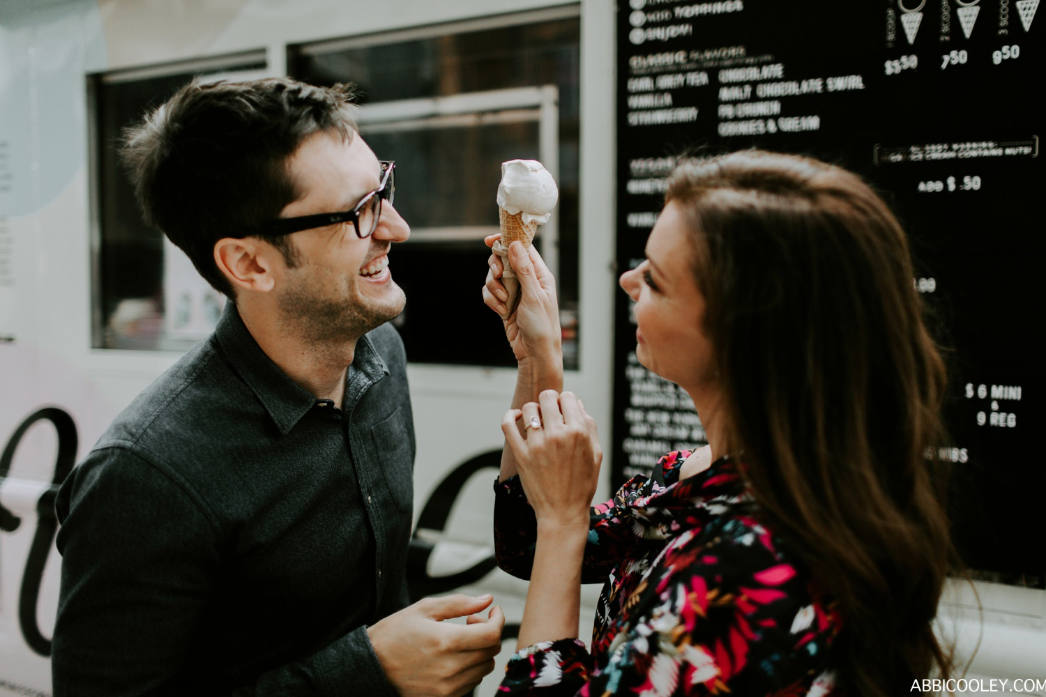 ice cream engagement shoot Griffith Observatory Engagement || Abbi Cooley