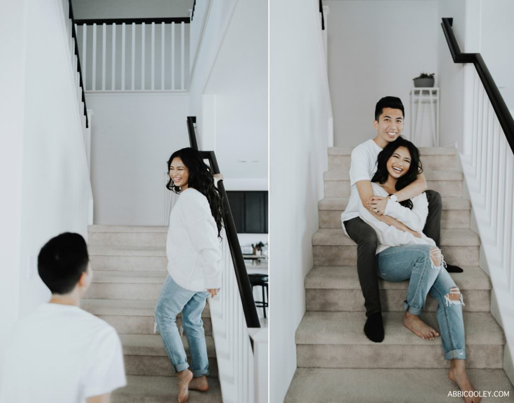 engagement photo on stairs Costa Mesa In Home Session || Abbi Cooley