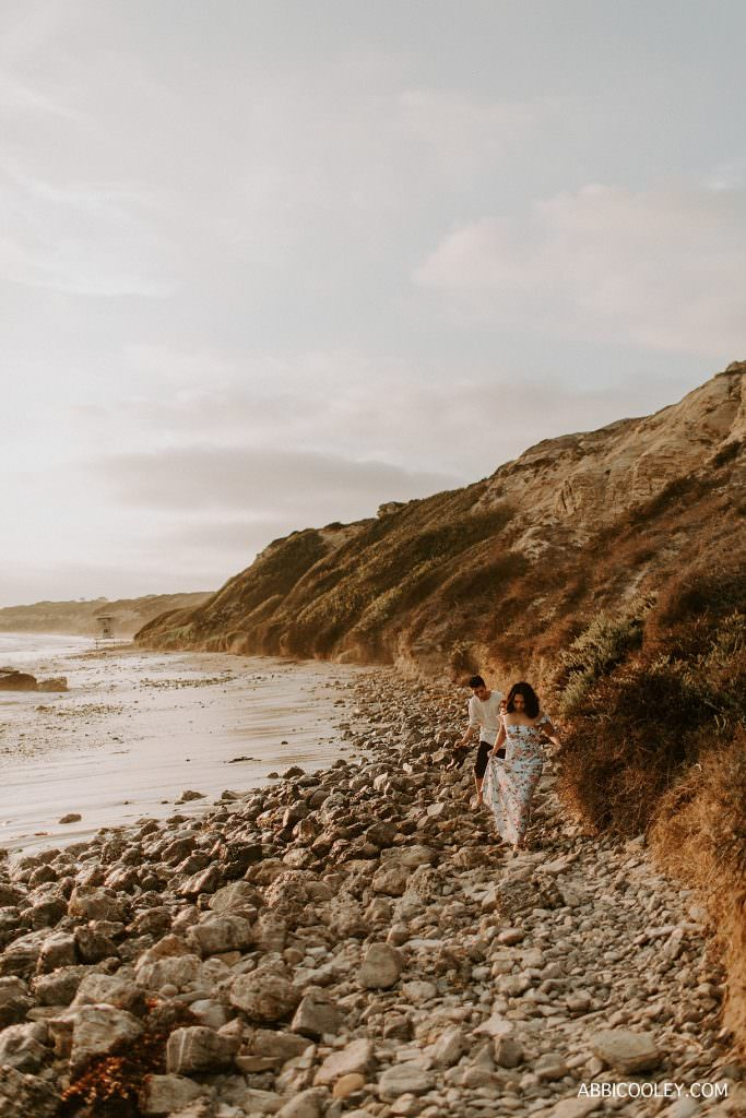 sunset beach engagement photos Costa Mesa In Home Session || Abbi Cooley