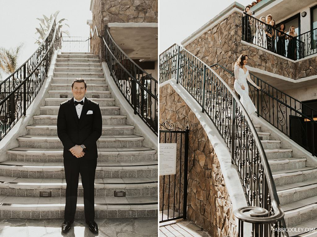 Bride walking down stairs first look La Quinta Country Club Wedding Photography || Abbi Cooley