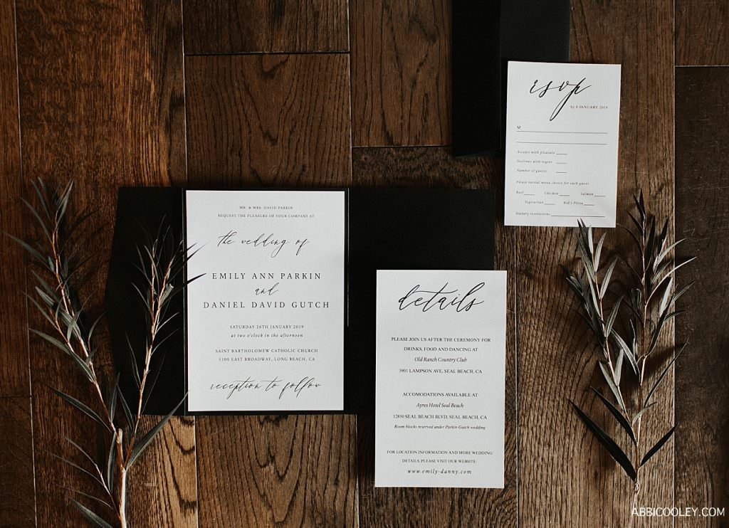 Wedding invite detail shot La Quinta Country Club Wedding Photography || Abbi Cooley