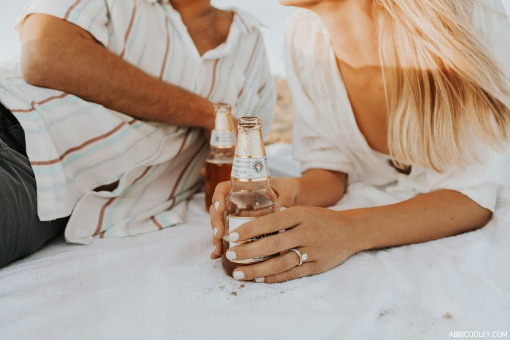 beer on the beach modelo's on the beach engagement
